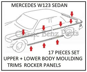 Mercedes W123 Sedan Upper and Lower Moulding Trims Set 17 Pieces