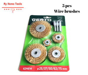 5 pcs Wire Cup/Wheel Brush Set For Drill Steel Brass Metal Cleaning Rust Sanding