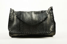 Bottega Veneta Black Gunmetal Metallic Python Leather Shoulder Messenger Bag
