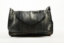 Bottega Veneta Black Gunmetal Metallic Python Leather Shoulder Messenger Bag