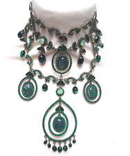 Butler and Wilson Green Crystal Gala Choker Drop Necklace Vintage Design