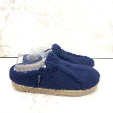LL Bean Women 9 Slippers Cozy Slides Blue Sherpa Fleece Open Back Shoe Slip On