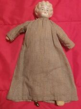Antique Glass Collectible Doll in Plaid Dress Great Paint Condition Rare Unique