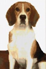 "Brown Beagle Dog - Animal Cross Stitch CHART ONLY 8"" x 12"" - 14 Count Aida, DMC"