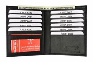 Men's Genuine Leather Bifold Wallet Slim Hipster  Cowhide Credit Card New RFID