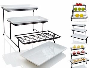 iEnjoyware 3-Tiered Porcelain Serving Platters with Mesh Wire Stand