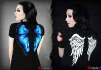 Restyle Gothic Blue Butterfly / White Angel Wings Black Cotton T Shirt for Women