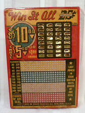 Vintage 1940s 25¢ Punch Board Game Win It All Mostly Un-Punched & Unused