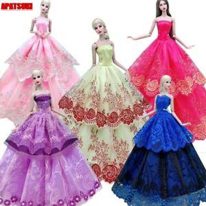 """Colorful Lace Wedding Dress For 11.5"""" 1/6 Doll Outfits Princess Gown Clothes Toy"""