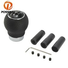 5 Speed Universal Black Aluminum &Leather Car Gear Shift Knob Shifter Lever Head