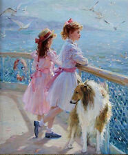 CHOP504 two lovely little girls see ocean &dog&bird oil painting on canvas art