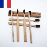 1-5X Brosses à dents en bambou Brosse à poils souples Nylon Ecologique