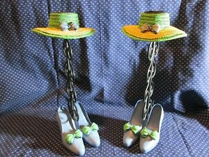Pair of Wrought Iron Candle Holders ~ High Heels & Straw Hat ~ Vanity, Dress UP