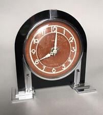 Very Stylish Art Deco Black Glass & Chrome 8 Day Desk / Mantel Clock