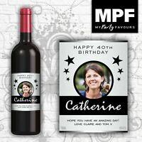 Personalised Photo Wine Bottle Label (Birthday/Any occasion) (SLV)