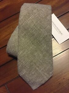 Banana Republic Stain Resistant Cotton/Linen Tie, Grey, NWT