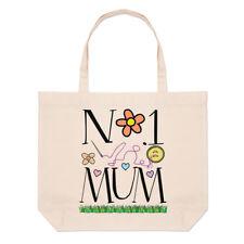 No.1 Mamá Corazones Lino de Playa Grande Bolso - Divertido Día la Madre Amor