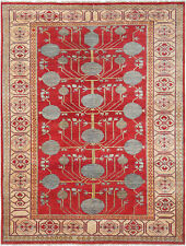 6X9 Hand-Knotted Oushak Carpet Traditional Red Fine Wool Area Rug Q5246