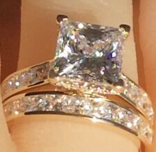 Real 9ct gold ring princess cut simulated diamond Engagement wedding ring set