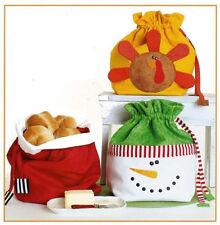 New Holiday Bread Bag Pattern    SANTA'S BAG    SNOWMAN    TURKEY