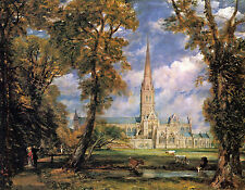 Salisbury Cathedral from Bishops Grounds Constable Canvas Poster Picture Print