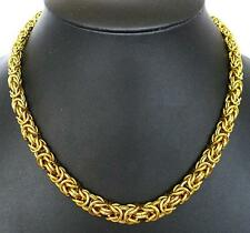 """20"""" HEAVY BYZANTINE WOVEN LINK CHAIN GOLD BRASS NECKLACE"""