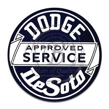 """Dodge Desoto Approved Service Reproduction 12"""" Circle Aluminum Sign"""