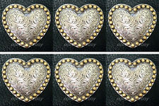 """Set of 6 WESTERN HORSE TACK ANTQIUE HEART GOLD BERRY SADDLE CONCHOS 1-1/4"""""""