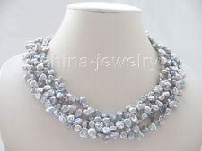 "P5263-18"" 5row gray Reborn Keshi freshwater pearl necklace - white GP magnet"