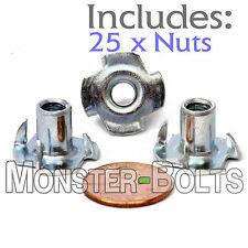 "1/4-20 x 7/16"" – Qty 25 – 4 Prong Tee Nut Straight Barrel Zinc Plated T-Nut"