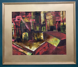 Large Mid Century Abstract Modernist Brutalist Oil On Board Painting