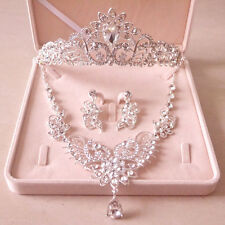 Crystal Wedding Tiara Crown+Necklace+Earring Set Handmade Bridal Accessory