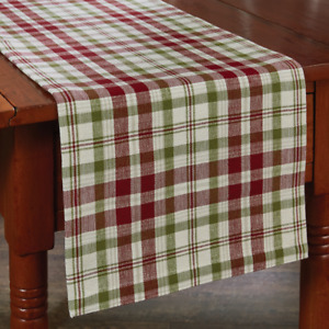 """Park Designs TOWN SQUARE 13""""x 36"""" Christmas Plaid Cranberry, Green Table Runner"""