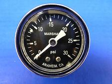 """Marshall Gauge 0-30 psi Fuel Pressure Oil Pressure Gauge Black 1.5"""" Diameter"""