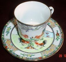 Authentic Hand Painted Vintage Chinese Decorative Teacup And Saucer Cockerels