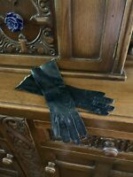 Vintage Italian Fownes Black Leather Gloves Size 6.5 Made In Italy Opera Length