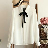 Womens HOT White Chiffon Blouse Collared Neck Bow Tie Long Sleeve Shirt Tops