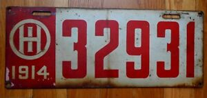Original Vintage 1914 Ohio Steel Painted License Plate No. 32931 Red and White