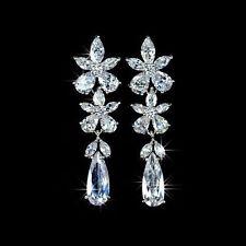 Klassische Ohrringe, Luxury Brand, Transparent Strass, Weißgold beschichtet, Neu