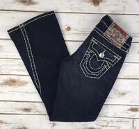 Womens True Religion Jeans Flap Pocket Thick Stitch Joey Twisted Flare 25 X 27