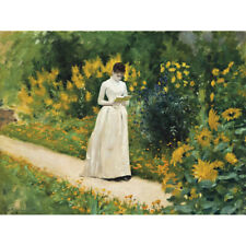 Aublet Reading Garden Path Painting Yellow Green Canvas Art Print Poster
