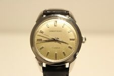 "VINTAGE RARE CLASSIC ALL STAINLESS STEEL MEN'S SWISS WATCH ""ERNEST BOREL"" 17J."