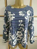 Joules Jumper Floral Stripe Print Long Sleeve Navy White Top UK 10 EUR 38