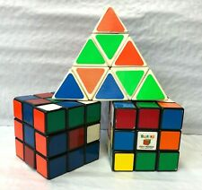 3 Vintage Twisty Puzzle Speedcube Games 2 Rubik's Cube Tomy Pyraminx Pyramid 3x3