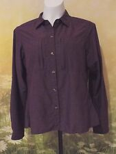 EX OFFICIO Dry-Flite Plum Hiking Outdoor Vented Cape Roll-Tab LS Shirt M $80