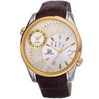 New Men's Joshua & Sons JS72YG Quartz Dual Time Brown Genuine Leather Watch