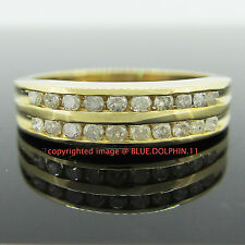Genuine Natural Diamonds Solid 9ct Yellow Gold Engagement Wedding Channel Ring