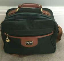 Antler TRAVEL LUGGAGE CABIN CASE / VANITY BAG Green Canvas  Brown Faux Leather