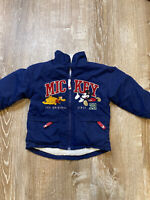 Vintage Mickey Mouse Toddler Baby Kids Full Zip Jacket Size 3T Navy Blue