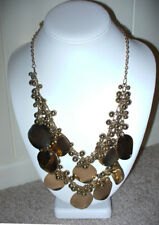"KOHL'S Goldtone Cream Circle Disc Drop Statement Necklace 29"" NEW"